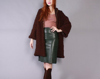 Vintage 60s SWEATER COAT / 1960s Dark Espresso Brown Thick & Warm  WOOL Knit Cardigan Jacket
