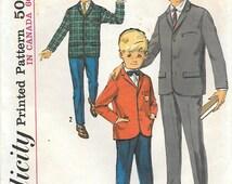 Simplicity 5657 1960s Boys Blazer and Slacks Vintage Sewing Pattern Size 6 Chest 24 Jacket