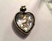 UNIQUE Brass HEART Pendant w/ Faceted Glass filled with Faux Pearls and Key Charm-Steampunk Heart-Valentine's Pendant-Faceted Glass Pendant