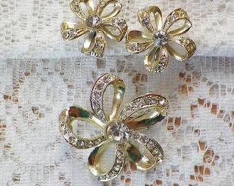 Vintage Loopy Rhinestone Flower Screw Back Earrings and Brooch / Pin / Broach Set, Clear Rhinestones, Flowers, Bright Gold Tone Metal