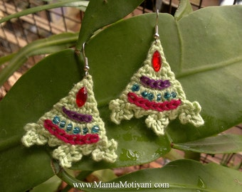 Crochet Triangle Earrings, Bridal Wedding Jewelry, Dangling Mountain Crocheted Beaded Earrings, Geometric Hippie Jewelry, Gifts For Her