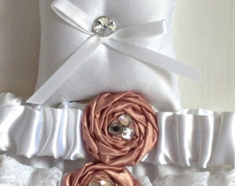 """Crystal and White Ring Bearer Pillow, small simple bridal pillow, crystal button white ribbon -- approx. 3"""" square"""