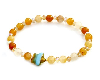 Starfish Bracelet Agate Beaded Faceted Gold Orange Yellow Amber Citrine STACKABLE Beach Fun Ocean Island Under the Sea Style by Mei Faith