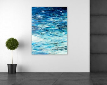 Large Abstract Painting, Ocean Beach Home Decor, Acrylic on 30x40 box canvas, Storm at Sea by Jessica Torrant, blue, white, black, silver