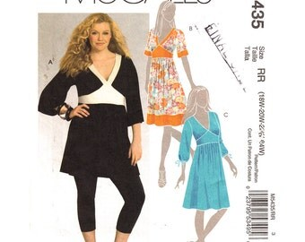Womens Dress Pattern McCalls 5435 Plus Size 18 to 24 Low V Neck Tunic Top Midriff Band Dress Womens Sewing Pattern UNCUT