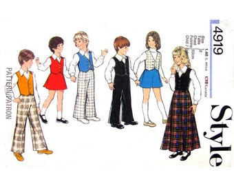 Boys & Girls Vest Shirt Mini or Maxi Skirt Pants Pattern Style 4919 Waistcoat, Trousers Childs Size 2 Vintage Sewing Pattern UNCUT