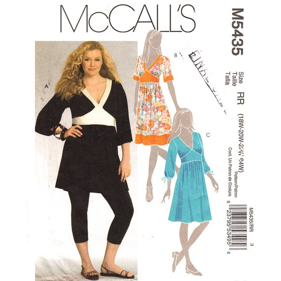 Womens Dress Pattern McCalls 5435 Plus Size 18 to 24 Low V Neck ...