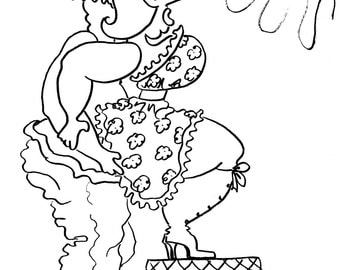 the squat balance fun sexy coloring pages for adults from the chubby art cartoon colouring - Cartoon Colouring Book