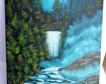 Bob Ross Style Oil Painting Winter Wilderness Alaska Waterfall Landscape 18x24