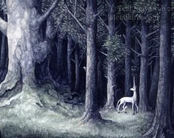 """4""""x6"""" Archival  Open Edition Lustre Art Print """"Grove"""" heraldic unicorn forest watercolor fantasy"""