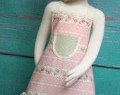 Kids Apron - Kids Ruffle Apron - Vintage Pink & Green Tea Party - Shabby Chic Apron