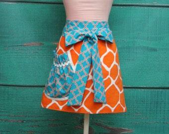 Towel Apron - Orange and White Giraffe Print
