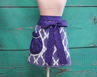 Towel Apron - Shower Hostess Apron - Purple & White Garden Trellis