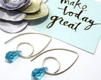 Trendy Light Turquoise Swarovski Crystal Hoop Earrings