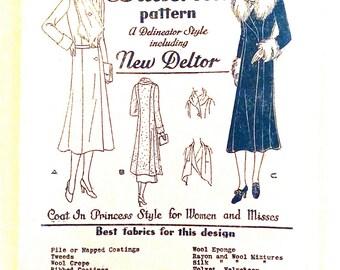 Early 1930s Butterick 3350 Women's 1930s Coat Pattern   Vintage Sewing Pattern Bust 42