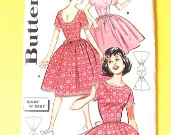 Uncut Butterick 9415 OnePiece Dress, Fitted Bodice, dirndl dress, full skirt, scooped back, bateau neckline Vintage Sewing Pattern Bust 31.5