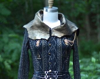 Steampunk black  gold color long sweater COAT. Eco fashion Fantasy clothing in size Small/Medium. Ready to ship