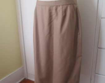 Tan Wool Evan-Picone Lined Pencil Skirt, Size Large, Hourglass, Wiggle