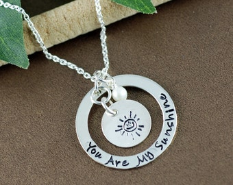 You are my sunshine Necklace, Hand Stamped Mommy Necklace, Personalized Jewelry, Mommy Jewelry, Gift for Mom, Sunshine Collection