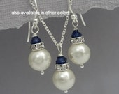 CHOOSE YOUR COLORS Bridesmaid Jewelry Set, Ivory Cream Pearl and Navy (Dark Sapphire) Jewelry, Bridemaid Necklace and Earring Set