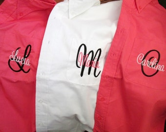 Set of 5, Bridesmaid Shirts, Bridesmaid Shirt, Personalized Shirt, Bridesmaid Gift, Bridal Party Shirt, Monogrammed Shirt, Button Down Shirt