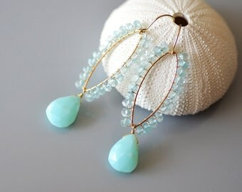 Aquamarine and Opal Earrings in 14k gold filled - Peruvian Blue Opal, Aquamarine, Bridal, Wedding, Faceted, Torch Soldered, wire wrapped