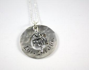 RN Necklace - Nurse Necklace - Live Love Heal Necklace - Nursing Necklace - Registered Nurse Necklace - Graduation Gift - Nursing School