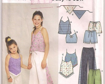 Childs Summer Clothes Simplicity 9290, Top Pants Shorts Sleeveless Tops, Boho Pants, Capri Pants, Triangle Scarf, Girls Pattern 3 4 5 6