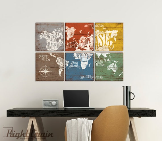 Large Vintage World Map Wall Artwork - Colorful Nursery Map Art Decor - Office Wall Decor 24x36