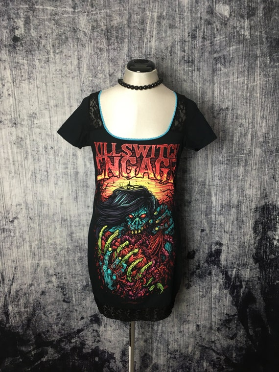 Killswitch Engage Women's Mini Dress // Reconstructed T-Shirt // Size Small // Alternative Music Rocker Horror Spooky Goth