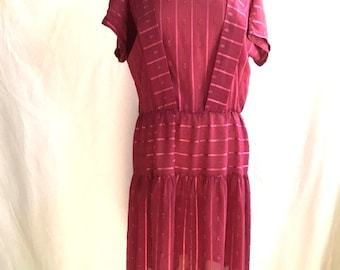 70s 80s  SHEER DUSTY ROSE Striped Dress / Vintage Womens Plus Size