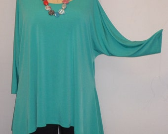 Plus Size Top, Coco and Juan, Lagenlook, Plus Size Tunic, Jade Green, Traveler Knit, Drape Side, Tunic Top, One Size, Bust  to 60 inches