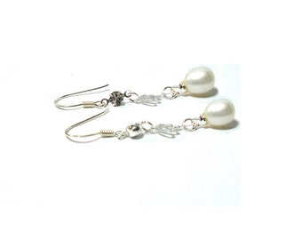 Freshwater Pearl Earrings ,  10MM White Freshwater Pearl ,  Sterling Silver Charm  , CZ  Earrings