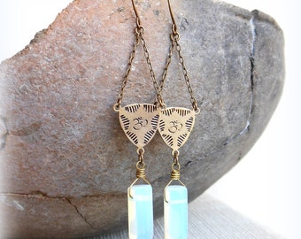 Om earrings opalite spike om symbol meditation mantra yoga jewelry ohm earrings spititual jewelry yogini new age