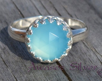 Beautiful Blue Chalcedony Sterling Silver Ring. Rose cut Blue Chalcedony set in sterling silver ring. Handcrafted fancy ring.