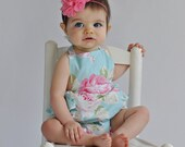 Baby Girl Romper  - Ruffle Bubble Romper - Blue and Pink Floral - Roses - Spring - Easter - Handmade Baby Outfit - Girly - Trendy - Cute