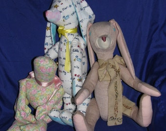 Faux suede Brown Bunny, Tie dye flannel Sleepy Time Bunny, and Rosie Posie frog * handmade stuffed animal toys