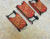 RESERVED FOR DARLA | Lot of Three Hand Painted Sleds, One Punkin'Head and One Fox Glove Ornament