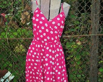 ON SALE Vintage 1970s Magenta Pink Floral Spaghetti Strap Flirty Summer Day Dress by Positive Attitudes Petites M/L