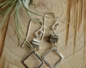 Iron Pyrite and Sterling Silver Earrings