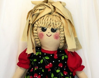 Plastic Bag Holder Doll - Cherries with Red Dress, Recycle, Grocery Bag Holder, Kitchen Doll