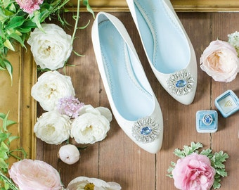 Something Blue Wedding Flats Shoes with Crystal and Rhinestones Oval Trim Bridal Shoes