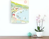 South of France Poster Canvas, Cote D'Azur Riviera Travel Poster, French Print Beach Travel Vacation Wall Art, Beach, Harbour, St Tropez.