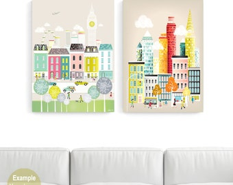 LARGE Wall Art Canvas Prints, ANY 2 Large Canvas Home Decor; New York, London, Paris, Rome, Chicago, Amsterdam, San Francisco, Los Angeles