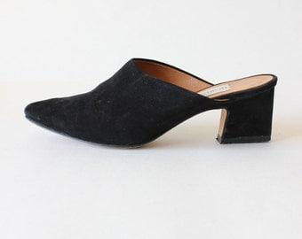 Vintage 1990s Nordstrom Black Suede Pointy Toe Slides, size 6W