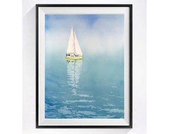 Beach art Water color paintings of sailboats Fine art watercolor Sailboat painting nautical decor ship painting illustration print 15.