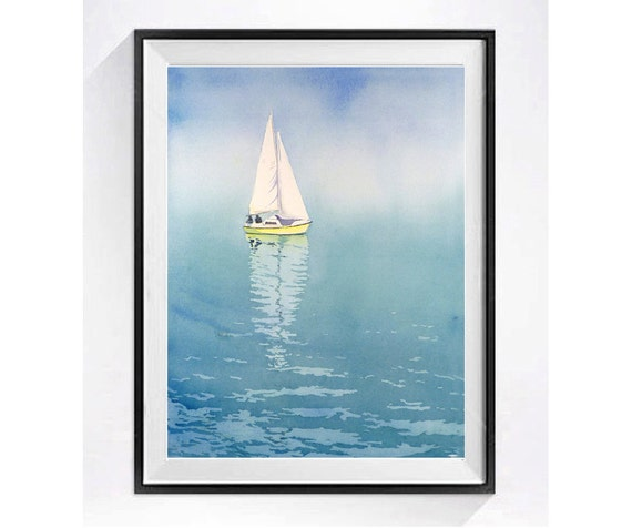 Beach art Water color paintings of sailboats, Fine art watercolor, Sailboat painting nautical decor ship painting, illustration print, 15.