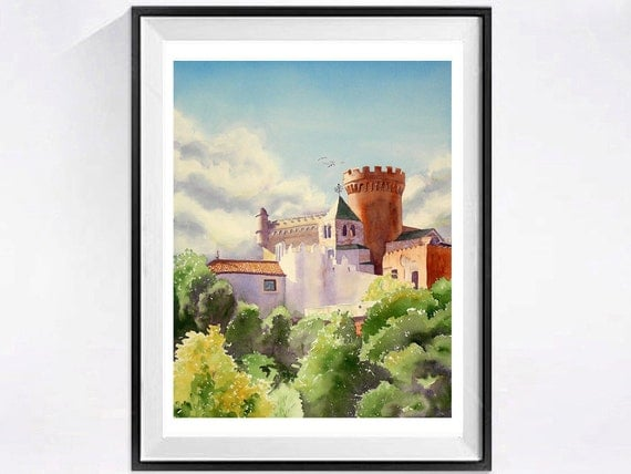 Spanish Castle Landscape Art / Watercolor PRINT / Fine art Spanish woodlands / Romantic painting / Castle art / Castle Landscape