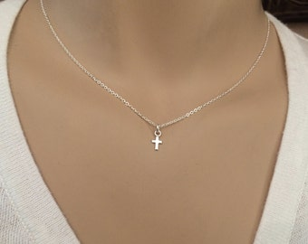 Teeny Tiny cross necklace - Small sterling silver cross necklace - Dainty, Minimal Little necklace
