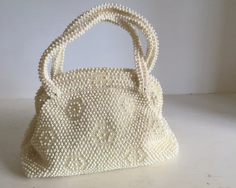 Vintage 1960s Futuristic White And Clear Corde Bead Handbag by Lumured